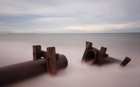 sea, Pipe, landscape