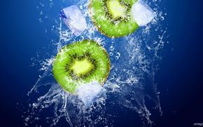 kiwi, spray, ice, filled fotomen
