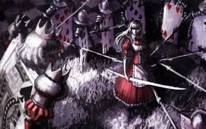 девушка, ухмылка, оружие, меч, карты, солдаты, алиса в стране чудес