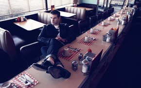 guy, actor, Liam Hemsfort, cafe, sitting, feet on the table, view