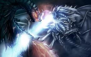 Art, Dragons, magic, battle, pendant, beam