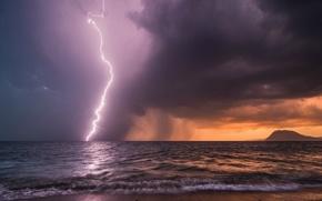 sea, clouds, lightning, storm, weather, Cloudy, coast, horizon