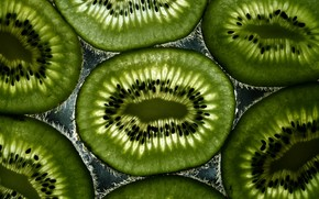 kiwi, slices, light, grains