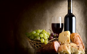 wine, cheese, bread, grapes, salmon, basket, goblet