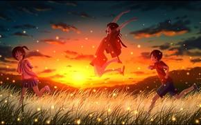 арт, дети, закат, небо, мальчик, девочки, облака, трава, светлячки, горы, природа