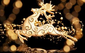 ciervo, la figura, oro, bokeh, decoracin, Ao Nuevo, Vacaciones, Ao Nuevo