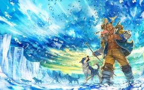 Art, homme, Loups, fille, oiseau, glace, banquise, froid