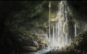 cave, water, statue, Warrior, man, Art
