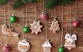 печенье, верёвочки, праздник, ёлка, ветка, ёлочные игрушки, Новый год