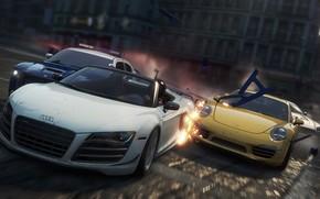 auto sportive, polizia, gara, inseguimento, distruzione