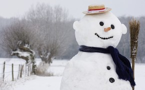 snowman, broom, cap, Winter, Scarf, smile, New Year