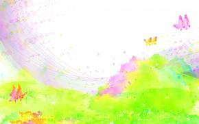 Children's wallpaper, paints, spray, field, Flowers, Butterflies