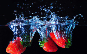 strawberry, Berries, water, spray
