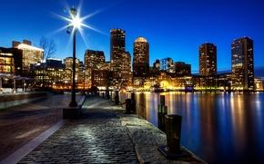 boston, Бостон, massachusetts, Массачусетс, usa, США, город, ночь, освещение, набережная, брусчатка, камни, река, дома, здания, небоскребы