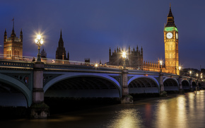 London, england, Great Britain, Big Ben, westminster palace, London, England, United Kingdom, Big Ben, Palace of Westminster, bridge, road, river, Thames, water, reflection, lighting, lights, evening, night
