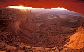горы, песок, восход