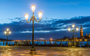venice, Venice, Italy, italy, area, evening, clouds, lights, lighting, wharf, Gondola