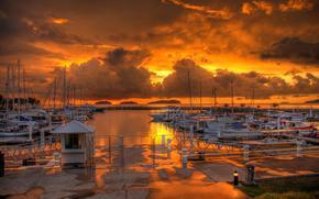 sunset, clouds, clouds, sea, berth, Boat, boats.