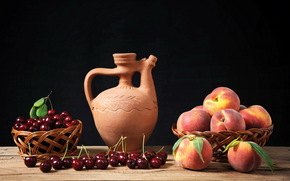 still life, Berries and fruit, Cherry (Cherry), peaches