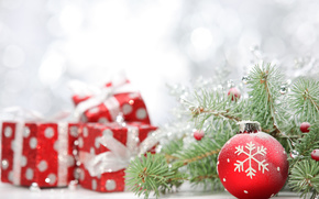 New Year, Christmas, ball, ball, red, snowflake, Gifts, Tree, spruce, branch, Tree, Toys, New Year