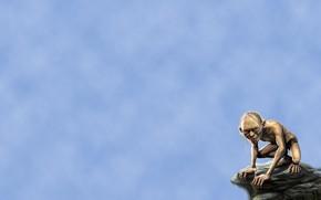 Il Signore degli Anelli, Gollum, sfondo blu, pietra, sorriso, minimalismo