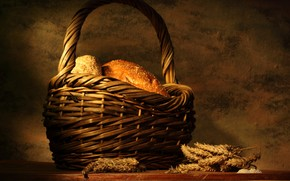 стол, хлеб, корзина, колосья