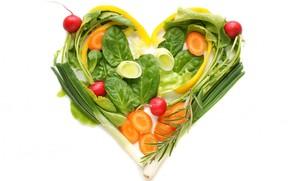 Creativity, heart, vegetables, carrots, radish, onion, greens