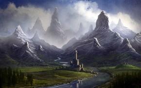 Art, landscape, Mountains, river, castle, fortress