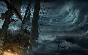 Art, sea, ship, boat, storm, waves, debris, shipwreck
