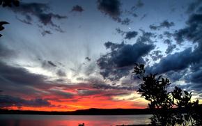 Lake, coast, sunset