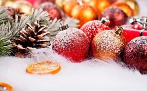 праздник, зима, снег, новый год, шары, шишки, фрукты, рождество, Новый год