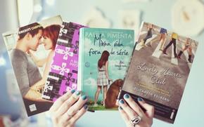 Mood, girl, hands, varnish, nails, Books, books, authors, background, wallpaper
