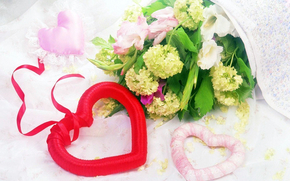 Holidays, gift, heart, heart, red, pink, leaves, wreath, Flowers, flowers