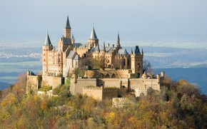nature, castle, Hohenzollern, structure, construction, Trees, clouds, fortress