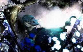 Art, girl, Vocaloid, Flowers, Petals, tree, Tears