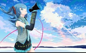 Art, girl, Vocaloid, Hatsune Miku, sky, clouds, speaker, form, tie, wire, heart