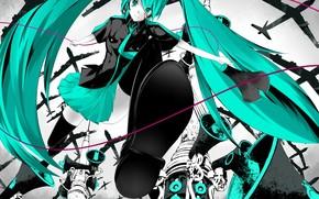 Art, Vocaloid, Hatsune Miku, girl, aircraft, Shoe, speaker, tie, Stockings, skirt, scratch, blood, anime