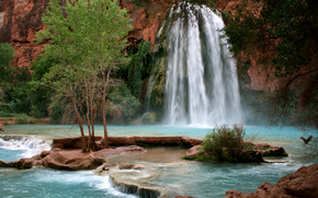 ro de montaa, cascada, Naturaleza, Havasu Falls, Havasupai Indian Reservation, Gran Can, Arizona