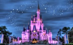 notte, semaforo, saluto, Disneyland