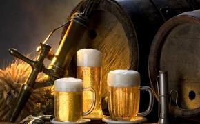 樽, 眼鏡, ビール, 泡, 飲む, 冷えたビール, たそがれ