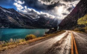 горы, солнце, тучи, Дорога, река