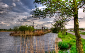 p. Rhine, kinderdijk holland, road