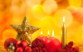 Candles, Christmas decorations, Berries, New Year