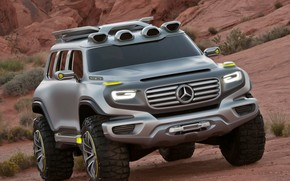 Maquinaria, Coche, Concepto, Coche, SUV, jeep, Mercedes, BENZ, desierto, Montaas, arbustos, Mercedes