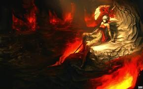 Art, girl, cave, lava, weapon, halberd