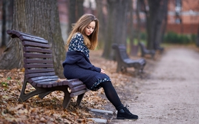 late autumn, fallen leaves, park, shop, thoughtful girl