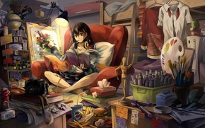 Art, room, girl, picture, Brush, headphones, easel, form, Books, food, Camera, lamp, chair, situation