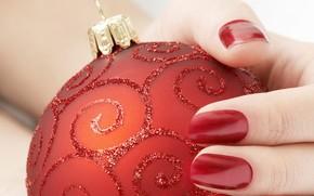 los dedos, Bola de Navidad, rojo, juguete, Ao Nuevo, mano, las uas, Ao Nuevo