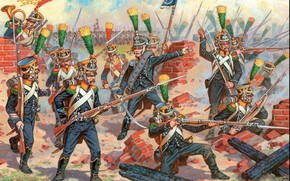 French elite infantry Voltigeurs, intended to serve as pioneers in the fight. It is these companies, have become the light infantry, which has always been at the forefront in the shooting circuit.