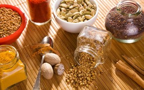 spices, seasoning, coriander, curry, muscat, nut, Spices, table, cans, spoon